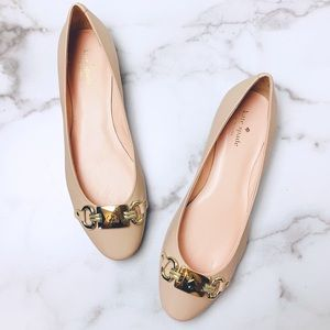 Kate Spade Phoebe Flat with Gold Buckle Hardware